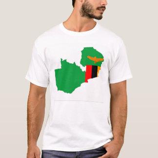 ザンビアの国旗の地図の形の記号 Tシャツ