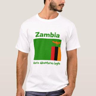 ザンビアの旗 + 地図 + 文字のTシャツ Tシャツ
