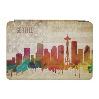 シアトルのWA|の水彩画都市スカイライン iPad MINIカバー