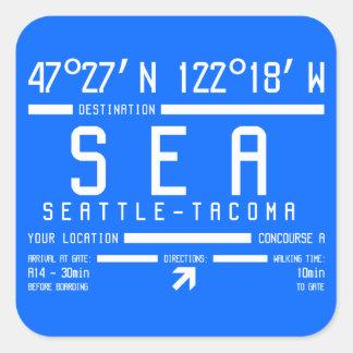 シアトルタコマ市空港コード 正方形シールステッカー