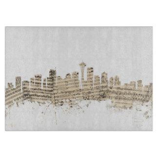 シアトルワシントン州のスカイラインの楽譜の都市景観 カッティングボード