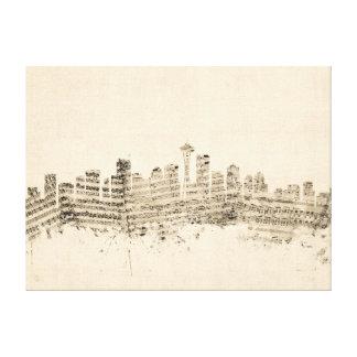 シアトルワシントン州のスカイラインの楽譜の都市景観 キャンバスプリント