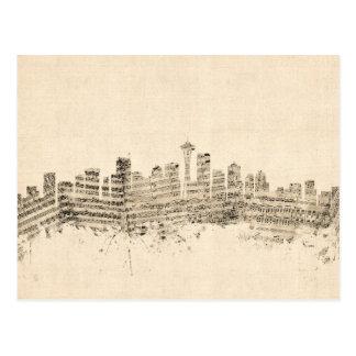 シアトルワシントン州のスカイラインの楽譜の都市景観 ポストカード