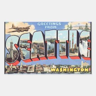 シアトルワシントン州のヴィンテージからの挨拶 長方形シール
