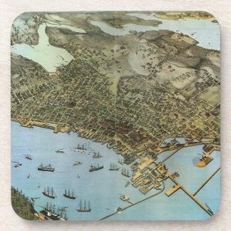 シアトルワシントン州旧式な地図の空中写真の市 コースター