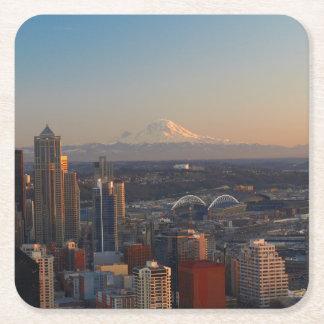 シアトル都市スカイライン2の空中写真 スクエアペーパーコースター