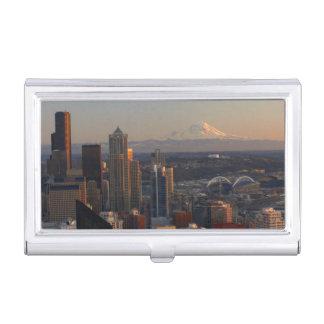 シアトル都市スカイライン2の空中写真 名刺入れ