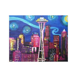 シアトル-ゴッホのインスピレーションの星明かりの夜 キャンバスプリント