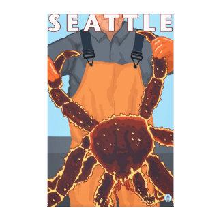 シアトル、ワシントン州-タラバガニ漁師 キャンバスプリント