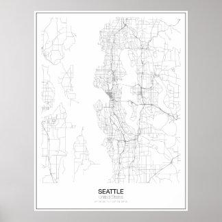 シアトル、米国の最小主義の地図ポスター ポスター