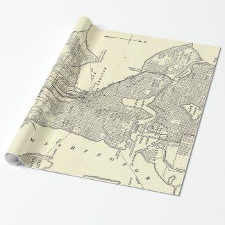 シアトル(1914年)のヴィンテージの地図 ラッピングペーパー