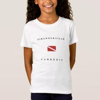 シアヌークビルカンボジアのスキューバ飛び込みの旗 Tシャツ