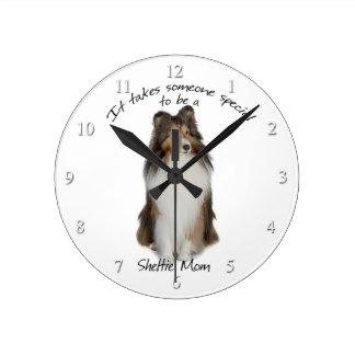 シェットランド・シープドッグのお母さんの時計 ラウンド壁時計