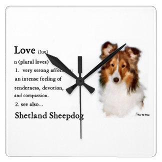 シェットランド・シープドッグのシェットランド・シープドッグの恋人のギフト スクエア壁時計