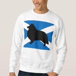 シェットランド・シープドッグのシルエットのスコットランドの旗 スウェットシャツ