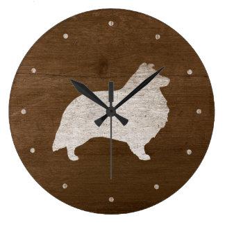 シェットランド・シープドッグのシルエット ラージ壁時計