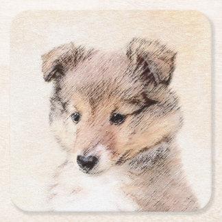 シェットランド・シープドッグの子犬 スクエアペーパーコースター
