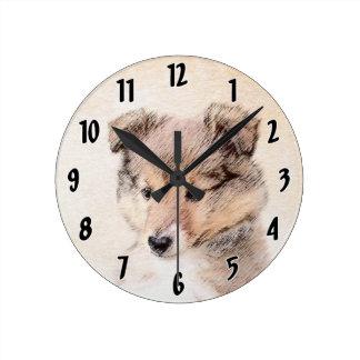 シェットランド・シープドッグの子犬 ラウンド壁時計