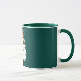 シェットランド・シープドッグの深緑色のマグ マグカップ