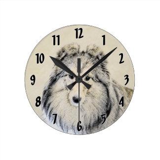 シェットランド・シープドッグの絵画-かわいい元の犬の芸術 ラウンド壁時計