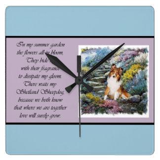 シェットランド・シープドッグの芸術 スクエア壁時計