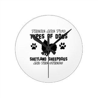シェットランド・シープドッグ犬のデザイン ラウンド壁時計