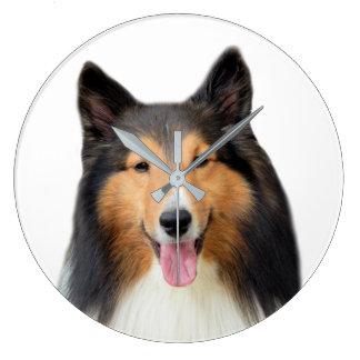 シェットランド・シープドッグ犬のペットの写真撮影 ラージ壁時計