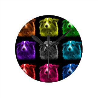 シェットランド・シープドッグ犬のポップアート9973のbb ラウンド壁時計
