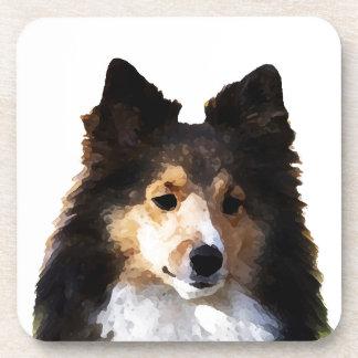 シェットランド・シープドッグ犬の絵画のスケッチ コースター