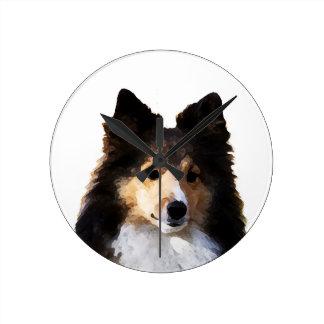 シェットランド・シープドッグ犬の絵画のスケッチ ラウンド壁時計