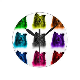 シェットランド・シープドッグ犬の芸術0207 WB ラウンド壁時計