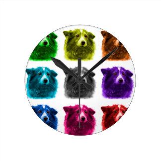 シェットランド・シープドッグ犬の芸術9973 Wb ラウンド壁時計