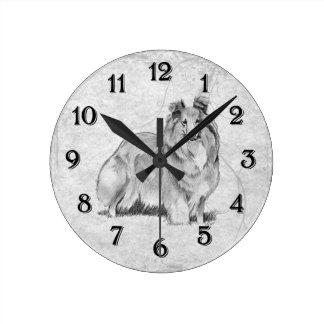 シェットランド・シープドッグ ラウンド壁時計