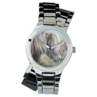 シェトランド諸島子馬、悪い状態、毛日、女性銀の腕時計 腕時計
