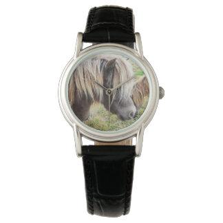 シェトランド諸島子馬、悪い状態、毛日、女性革腕時計 腕時計