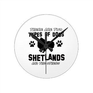 シェトランド諸島犬のデザイン ラウンド壁時計