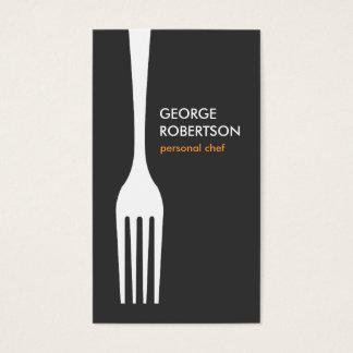 シェフのための大きいフォークのロゴ、ケータリング、レストラン、食糧 名刺