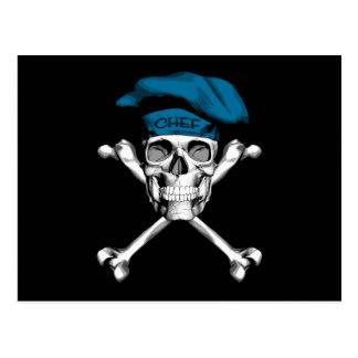 シェフのスカルの骨が交差した図形: 青い ポストカード