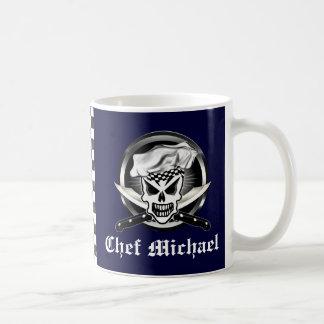 シェフのスカル2および交差させたシェフのナイフ コーヒーマグカップ