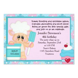 シェフのブタのカップケーキのベーキングの誕生日 カード