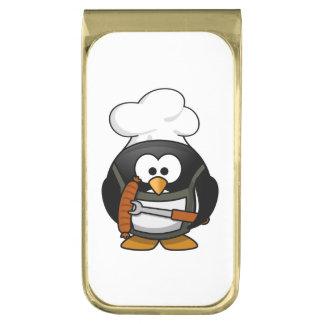 シェフのペンギンの漫画 金色 マネークリップ