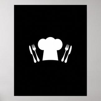 シェフの帽子のナイフおよびフォークの台所またはレストラン ポスター