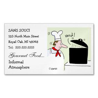 シェフの漫画のかわいくおもしろいなレストランのケータリング マグネット名刺