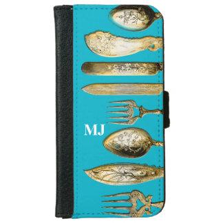 シェフの食事用器具類のモノグラムの金ゴールドの青 iPhone 6/6S ウォレットケース