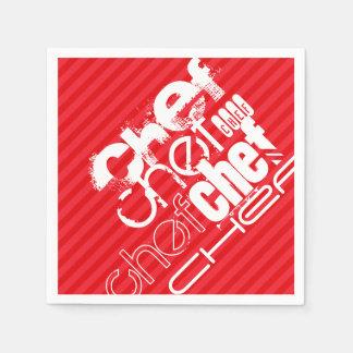 シェフ; 深紅の赤のストライプ スタンダードカクテルナプキン