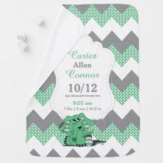 シェブロンおもしろいな緑の象 ベビー ブランケット