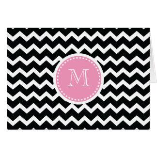 シェブロンのエレガントなピンクおよび黒いレトロのモノグラム カード