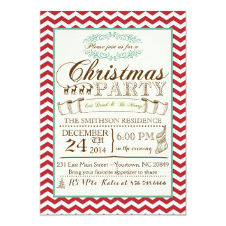 シェブロンのクリスマスのパーティの招待状 カード