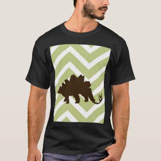 シェブロンのジグザグ形のステゴサウルス-緑および白 Tシャツ