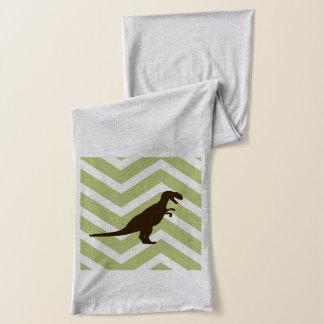 シェブロンのジグザグ形の恐竜-緑および白 スカーフ